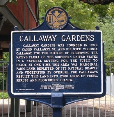 Callaway Gardens Marker, Side 1 image. Click for full size.