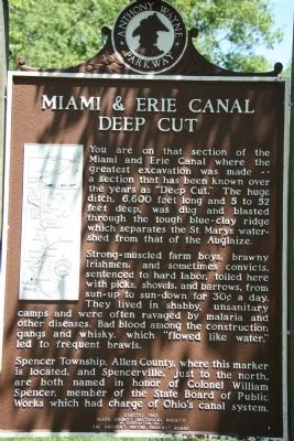 Miami & Erie Canal Deep Cut Marker image. Click for full size.