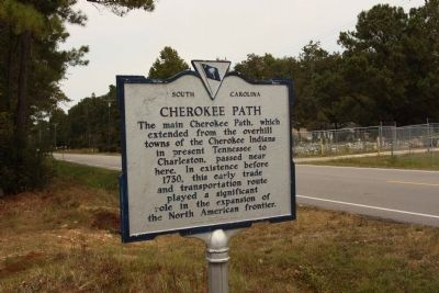 Cherokee Path Marker looking west along Old Highway 6 image. Click for full size.