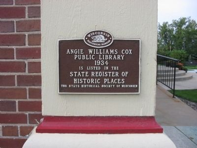 Angie Williams Cox Public Library Marker image. Click for full size.