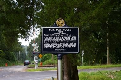 Fortson House Marker with the Railroad Tracks in the Background image. Click for full size.