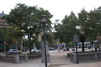 View looking Northwest through the Center Square. Marker in right center. image. Click for full size.