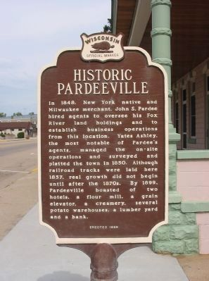 Historic Pardeeville Marker <i>[south side]</i> image. Click for full size.