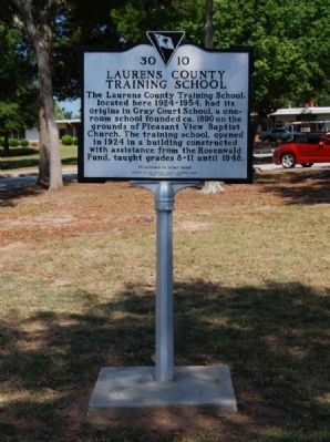 Laurens County Training School Marker - Front image. Click for full size.