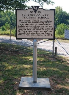 Laurens County Training School Marker - Reverse image. Click for full size.