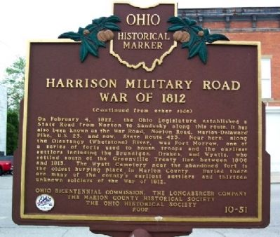 Harrison Military Road Marker (Side B) image. Click for full size.