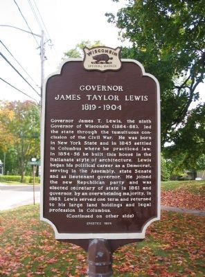 Governor James Taylor Lewis Marker image. Click for full size.
