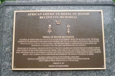 African American Medal of Honor Recipients Memorial, Marker Panel 1 image. Click for full size.