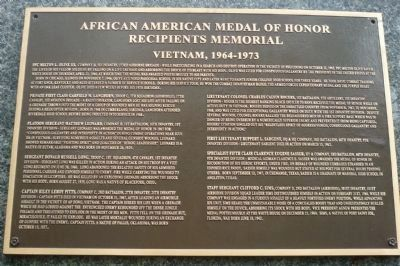 African American Medal of Honor Recipients Memorial, Marker Panel 12: image. Click for full size.