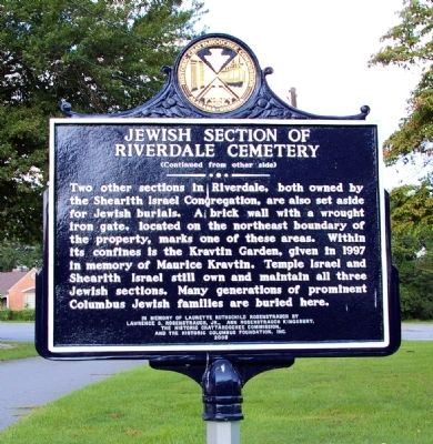 Jewish Section of Riverdale Cemetery Marker, Side 2 image. Click for full size.