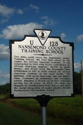 Nansemond County Training School Marker image. Click for full size.