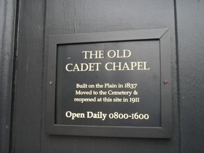 The Old Cadet Chapel Marker image. Click for full size.