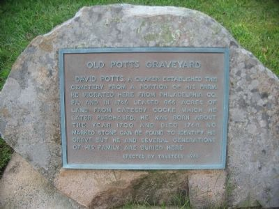 Old Potts Graveyard Marker image. Click for full size.