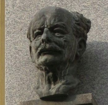 Closeup of bust of Ladislav Zelenka above the marker. image. Click for full size.