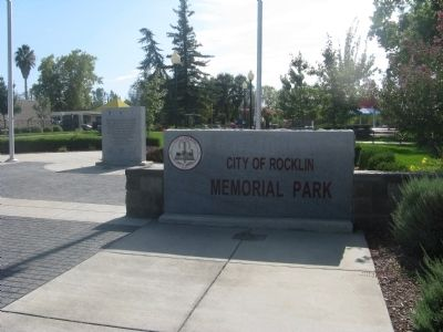 Entrance to the City of Rocklin Memorial Park image. Click for full size.