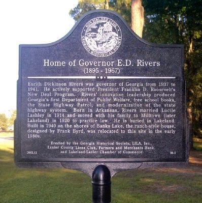 Home of Governor E. D. Rivers Marker image. Click for full size.