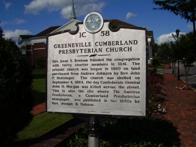 Greeneville Cumberland Presbyterian Church Marker image. Click for full size.