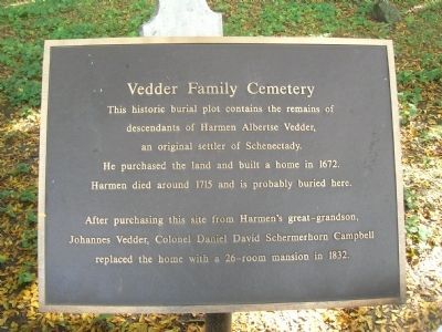 Vedder Family Cemetery Marker image. Click for full size.