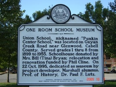 One Room School Museum Marker image. Click for full size.