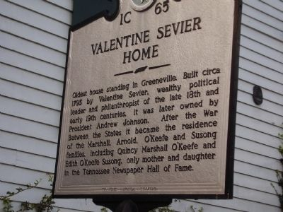 Valentine Sevier Home Marker image. Click for full size.