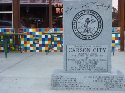 Carson City Nevada Pony Express Station Marker image. Click for full size.