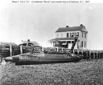 "Photo # 165-C-  751 Confederate ""David"" type torpedo boat Charleston, SC, 1865 image. Click for full size."