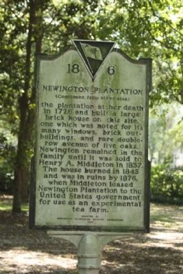 Newington Plantation Marker reverse side image. Click for full size.