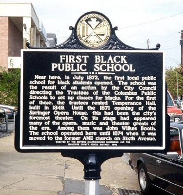 First Black Public School Marker image. Click for full size.