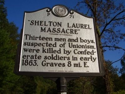 """ Shelton Laurel Massacre "" Marker image. Click for full size."