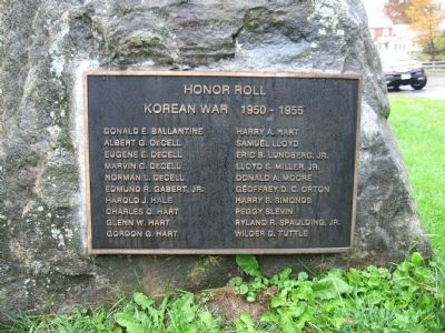 Weston Korean War Monument Plaque image. Click for full size.
