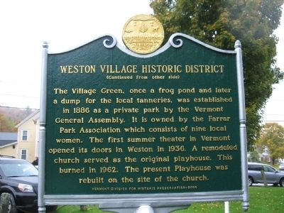 Weston Village Historic District Marker image. Click for full size.