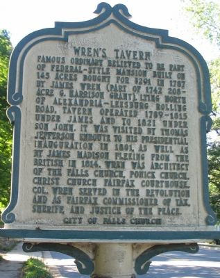 Wren's Tavern Marker image. Click for full size.