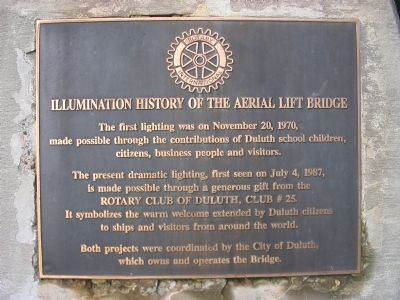 Illumination History of the Aerial Lift Bridge Marker image. Click for full size.