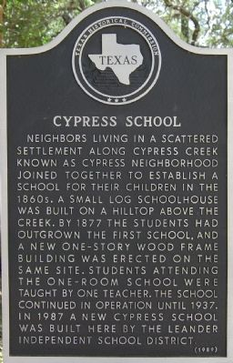 Cypress School Marker image. Click for full size.