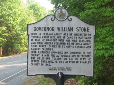 Governor William Stone Marker image. Click for full size.