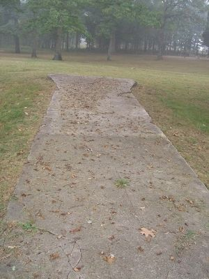 Sidewalk leading up to where Belle Haven Baptist Church used to be. image. Click for full size.