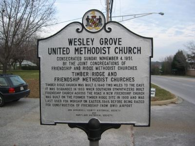 Wesley Grove United Methodist Church Marker, West Side image. Click for full size.