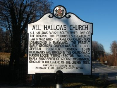 All Hallows Church Marker image. Click for full size.