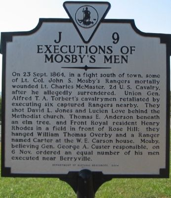 Execution of Mosby's Men Marker image. Click for full size.