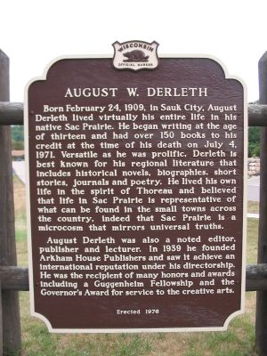 August W. Derleth Marker image. Click for full size.