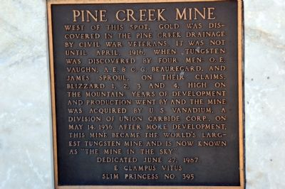 Pine Creek Mine Marker image. Click for full size.