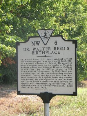 Dr. Walter Reed's Birthplace Marker image. Click for full size.