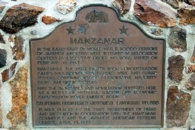 Manzanar Marker image. Click for full size.