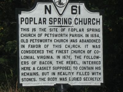 Previous Version of the Poplar Spring Church Marker image. Click for full size.