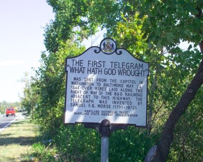 The First Telegram Marker at Its Original Location image. Click for full size.