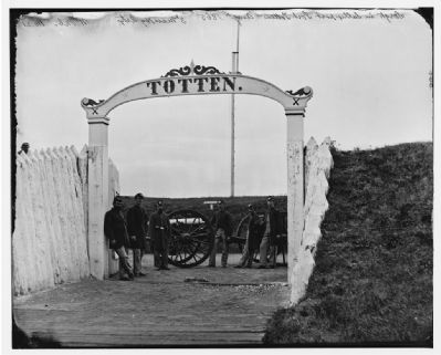 Civil War Photograph of Soliders at the Gate to Fort Totten image. Click for full size.