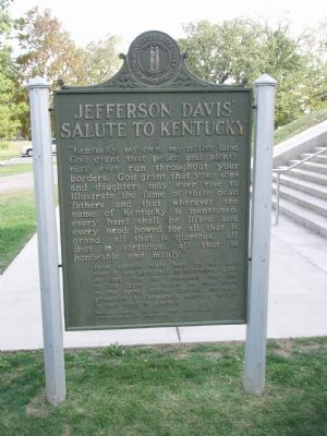 Jefferson Davis' Salute to Kentucky - Looking West. image. Click for full size.