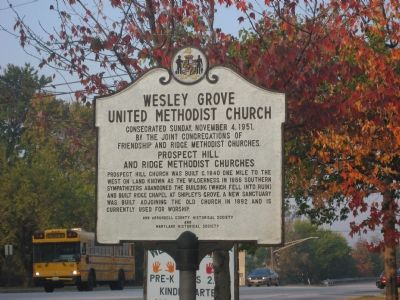 Wesley Grove United Methodist Church Marker, East Side image. Click for full size.
