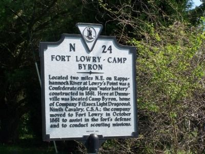 Fort Lowry-Camp Byron Marker image. Click for full size.
