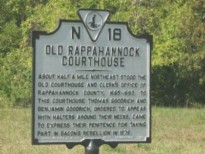 Old Rappahannock Courthouse Marker image. Click for full size.